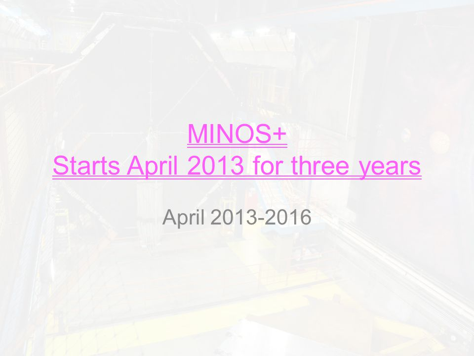 Summary Unique among long baseline neutrino experiments, MINOS+ has high precision and long baseline MINOS+ will pick up where MINOS leaves off – Large reach in sterile search – Any non-standard effects should be seen with MINOS+ High precision standard parameter measurement of  m 2 23 may be very important in the future – Another way to the mass hierarchy?