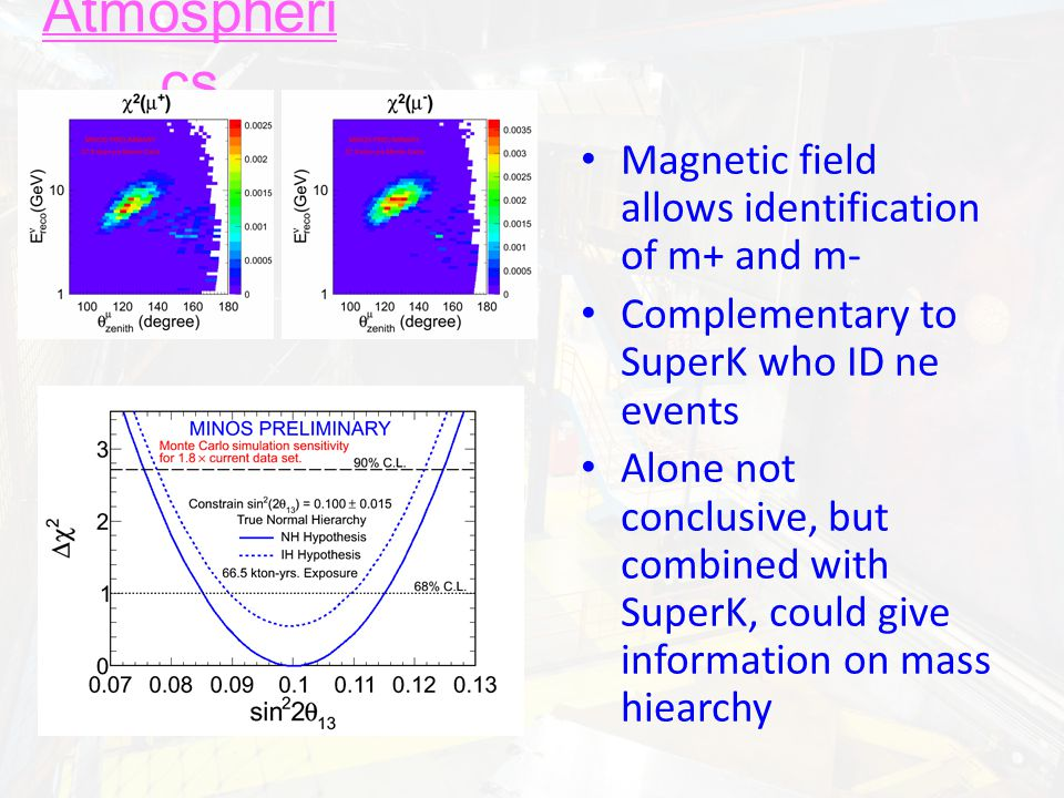 Atmospheri cs Magnetic field allows identification of m+ and m- Complementary to SuperK who ID ne events Alone not conclusive, but combined with Super