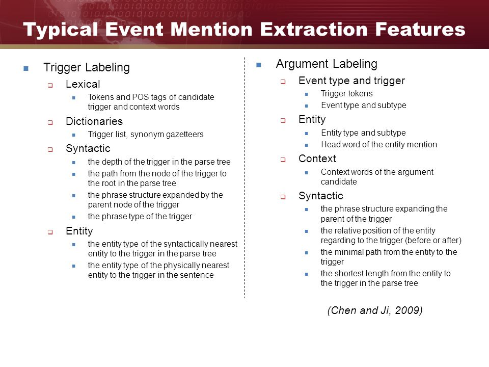 Typical Event Mention Extraction Features Trigger Labeling  Lexical Tokens and POS tags of candidate trigger and context words  Dictionaries Trigger