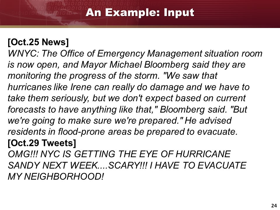 24 An Example: Input [Oct.25 News] WNYC: The Office of Emergency Management situation room is now open, and Mayor Michael Bloomberg said they are moni