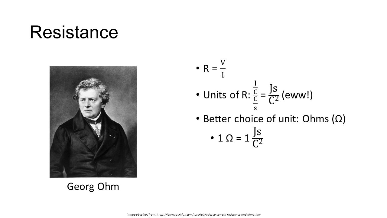 Resistance Image obtained from: https://learn.sparkfun.com/tutorials/voltage-current-resistance-and-ohms-law Georg Ohm