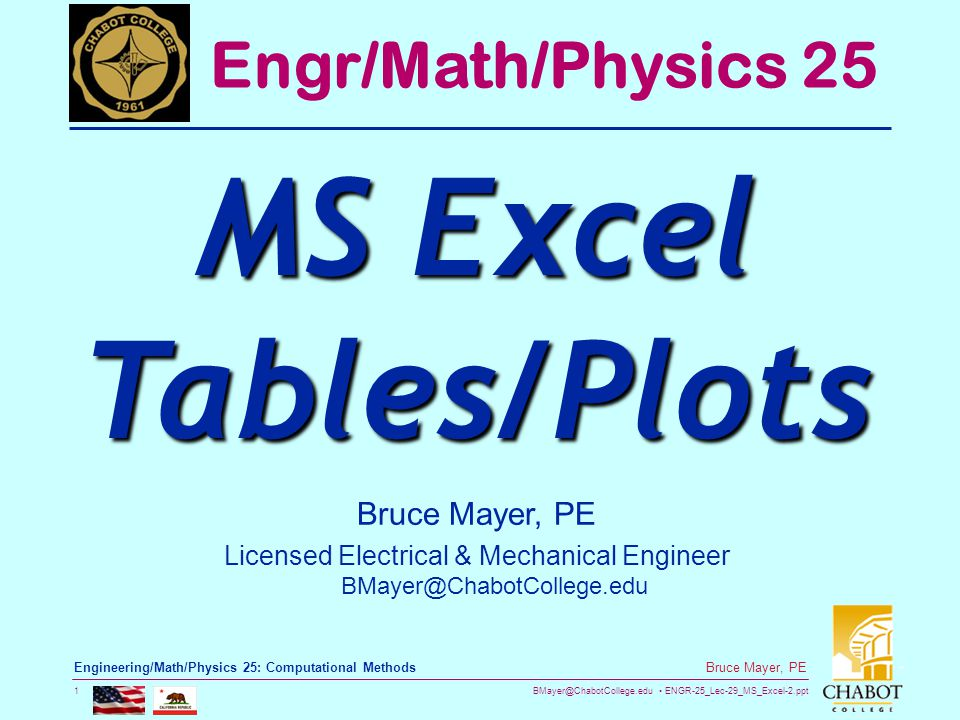 BMayer@ChabotCollege.edu ENGR-25_Lec-29_MS_Excel-2.ppt 1 Bruce Mayer, PE Engineering/Math/Physics 25: Computational Methods Bruce Mayer, PE Licensed Electrical & Mechanical Engineer BMayer@ChabotCollege.edu Engr/Math/Physics 25 MS Excel Tables/Plots