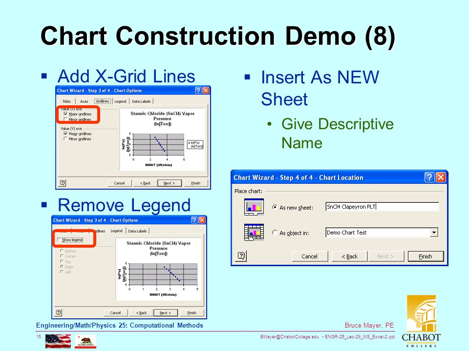 BMayer@ChabotCollege.edu ENGR-25_Lec-29_MS_Excel-2.ppt 15 Bruce Mayer, PE Engineering/Math/Physics 25: Computational Methods Chart Construction Demo (8)  Add X-Grid Lines  Remove Legend  Insert As NEW Sheet Give Descriptive Name