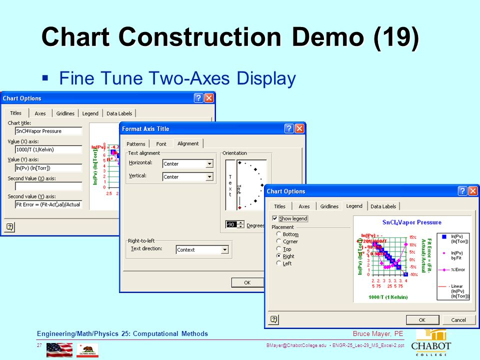 BMayer@ChabotCollege.edu ENGR-25_Lec-29_MS_Excel-2.ppt 27 Bruce Mayer, PE Engineering/Math/Physics 25: Computational Methods Chart Construction Demo (19)  Fine Tune Two-Axes Display