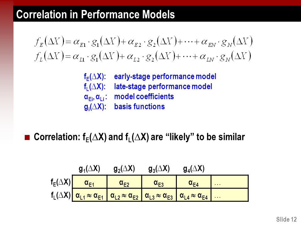 Slide 12 Correlation in Performance Models Correlation: f E (∆X) and f L (∆X) are likely to be similar α E1 α E2 α E3 α E4 … α L1  α E1 α L2  α E2 α L3  α E3 α L4  α E4 … f E (∆X) f L (∆X) g 1 (∆X)g 2 (∆X)g 3 (∆X)g 4 (∆X) f E (∆X):early-stage performance model f L (∆X):late-stage performance model α Ei, α Li :model coefficients g i (∆X):basis functions