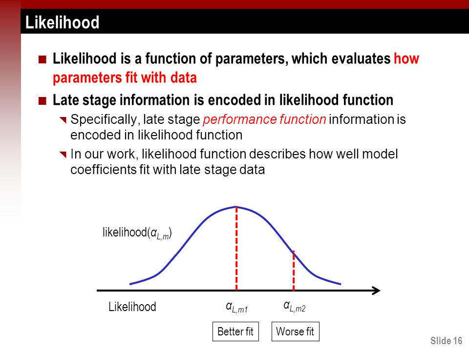 Slide 16 Likelihood Likelihood is a function of parameters, which evaluates how parameters fit with data Late stage information is encoded in likelihood function  Specifically, late stage performance function information is encoded in likelihood function  In our work, likelihood function describes how well model coefficients fit with late stage data Likelihood likelihood( α L,m ) α L,m2 α L,m1 Better fitWorse fit