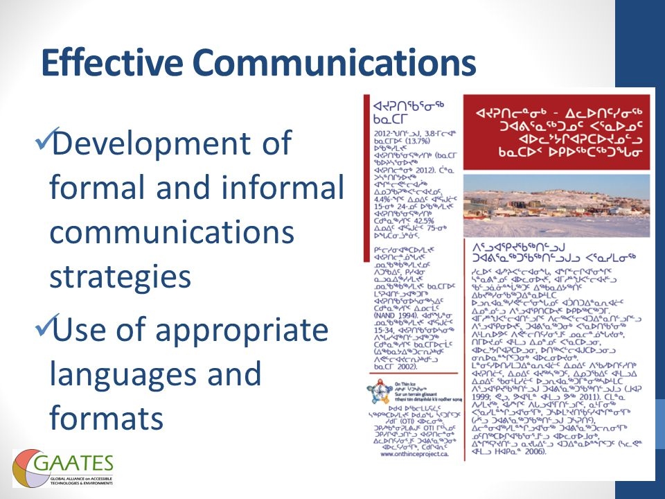 Effective Communications Working with EMOs to adopt best practices on the use of social media, SMS texting alerts, etc.