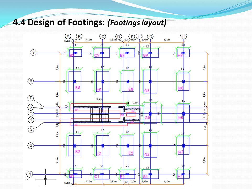 4.4 Design of Footings: (Footings layout)