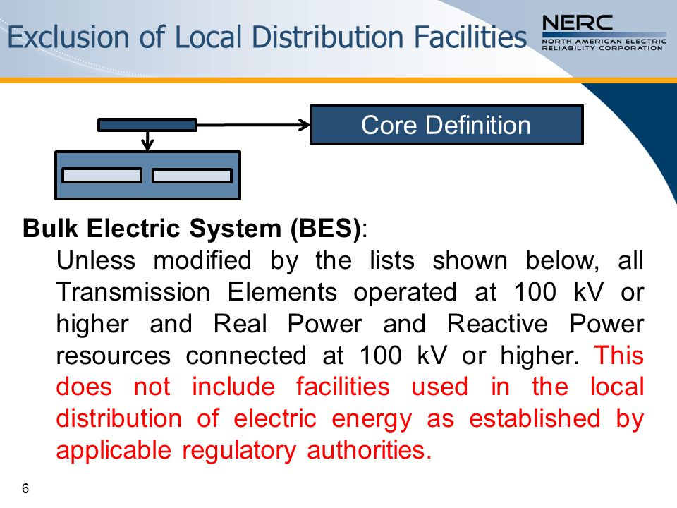 Exclusion of Local Distribution Facilities 6 Bulk Electric System (BES): Unless modified by the lists shown below, all Transmission Elements operated