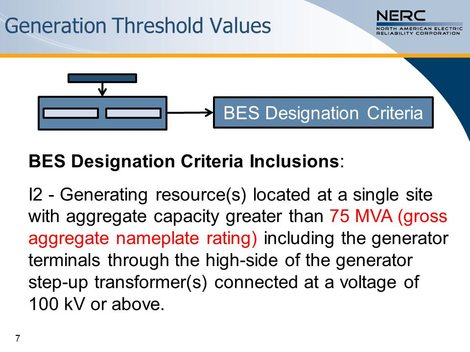 Generation Threshold Values BES Designation Criteria Inclusions: I2 - Generating resource(s) located at a single site with aggregate capacity greater