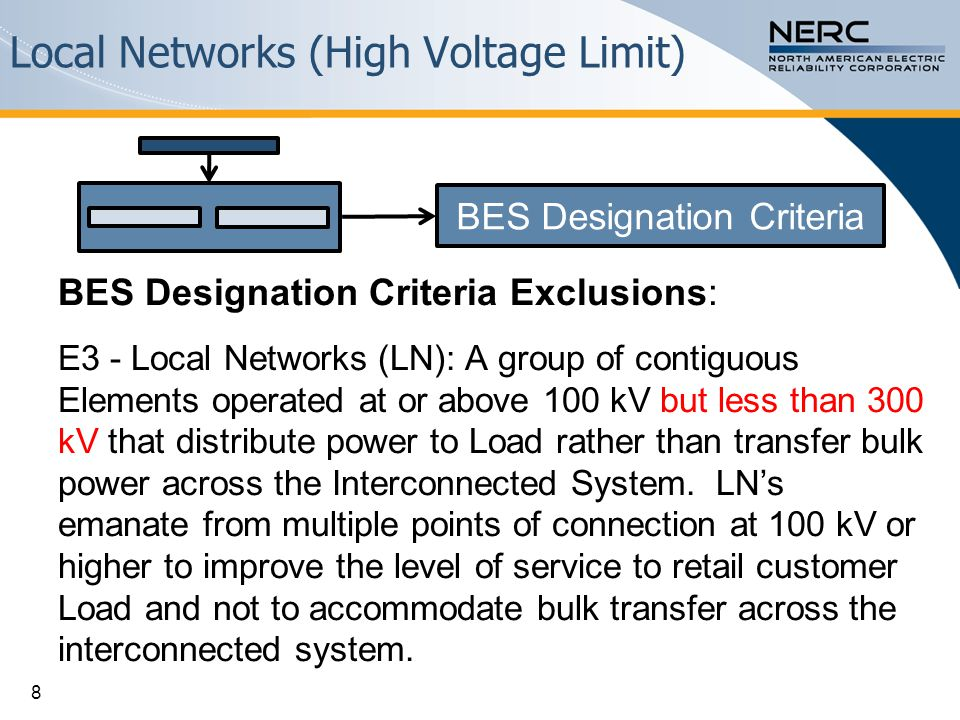 Local Networks (High Voltage Limit) BES Designation Criteria Exclusions: E3 - Local Networks (LN): A group of contiguous Elements operated at or above
