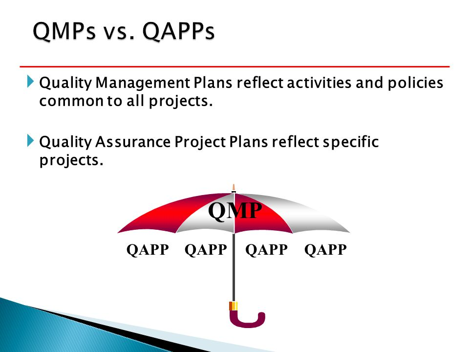  Quality Management Plans reflect activities and policies common to all projects.