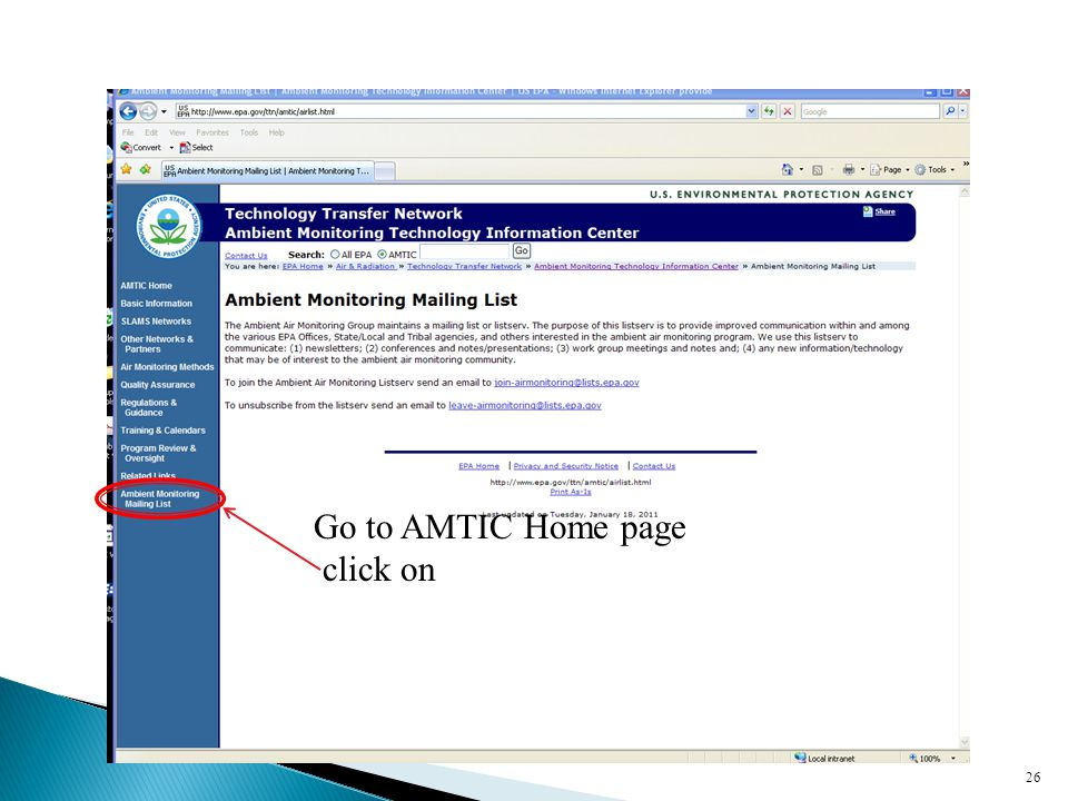 26 Go to AMTIC Home page click on