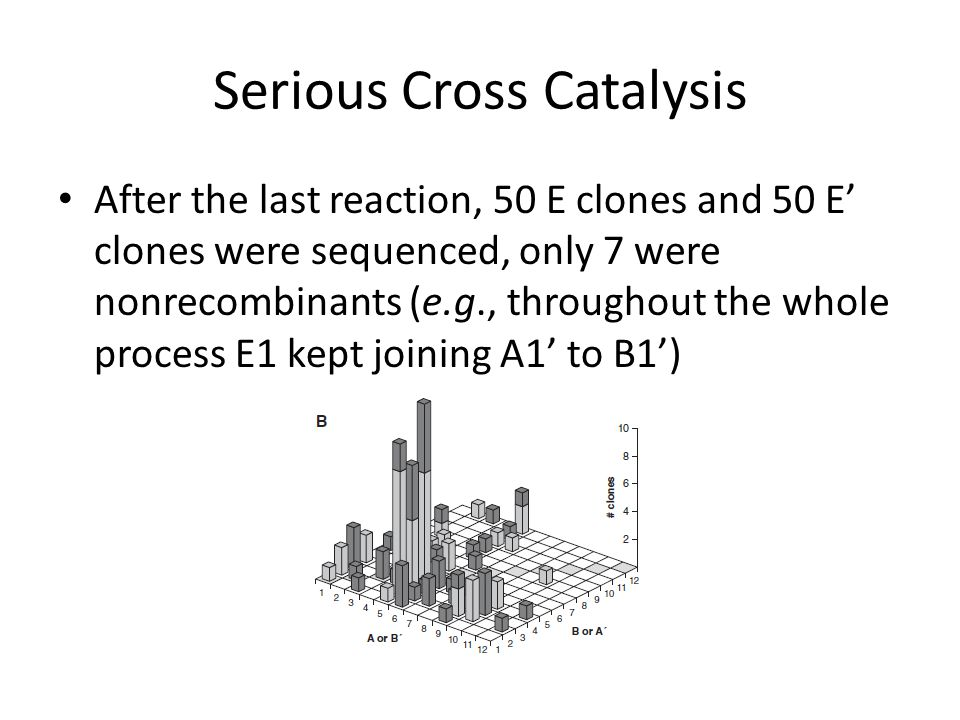 Serious Cross Catalysis After the last reaction, 50 E clones and 50 E' clones were sequenced, only 7 were nonrecombinants (e.g., throughout the whole