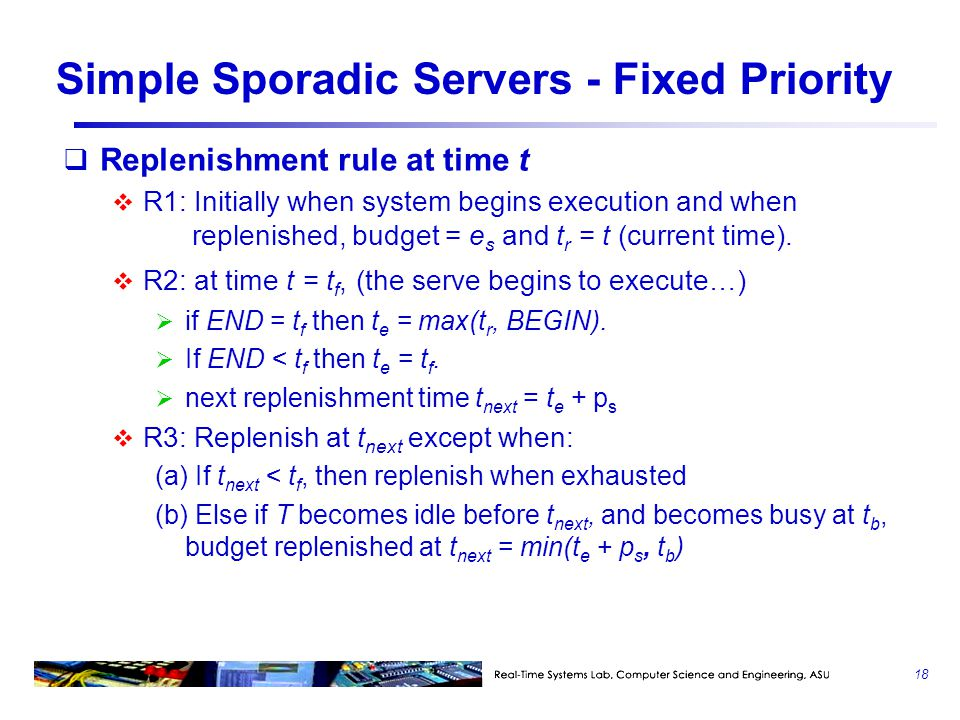 Simple Sporadic Servers - Fixed Priority  Replenishment rule at time t  R1: Initially when system begins execution and when replenished, budget = e s and t r = t (current time).