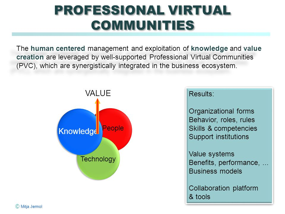 Mitja Jermol © Mitja Jermol PROFESSIONAL VIRTUAL COMMUNITIES The human centered management and exploitation of knowledge and value creation are levera
