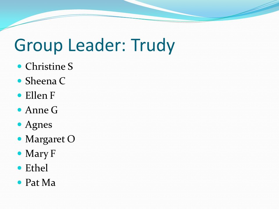 Group Leader: Trudy Christine S Sheena C Ellen F Anne G Agnes Margaret O Mary F Ethel Pat Ma