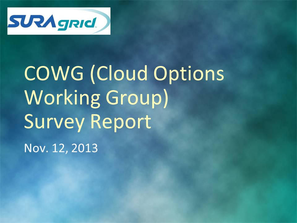 COWG (Cloud Options Working Group) Survey Report Nov. 12, 2013