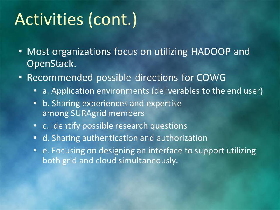 Activities (cont.) Most organizations focus on utilizing HADOOP and OpenStack.