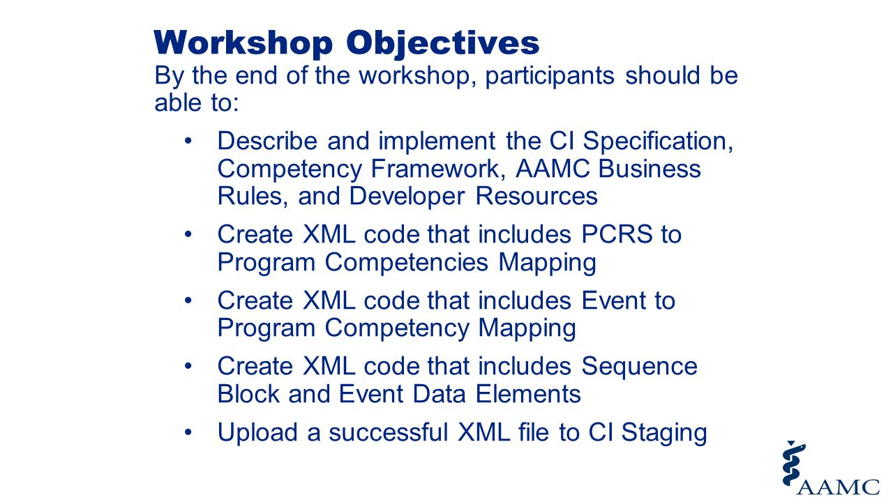Workshop Objectives By the end of the workshop, participants should be able to: Describe and implement the CI Specification, Competency Framework, AAM