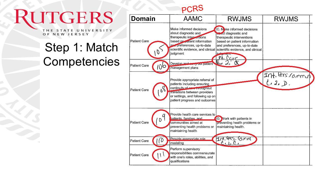 Step 1: Match Competencies PCRS