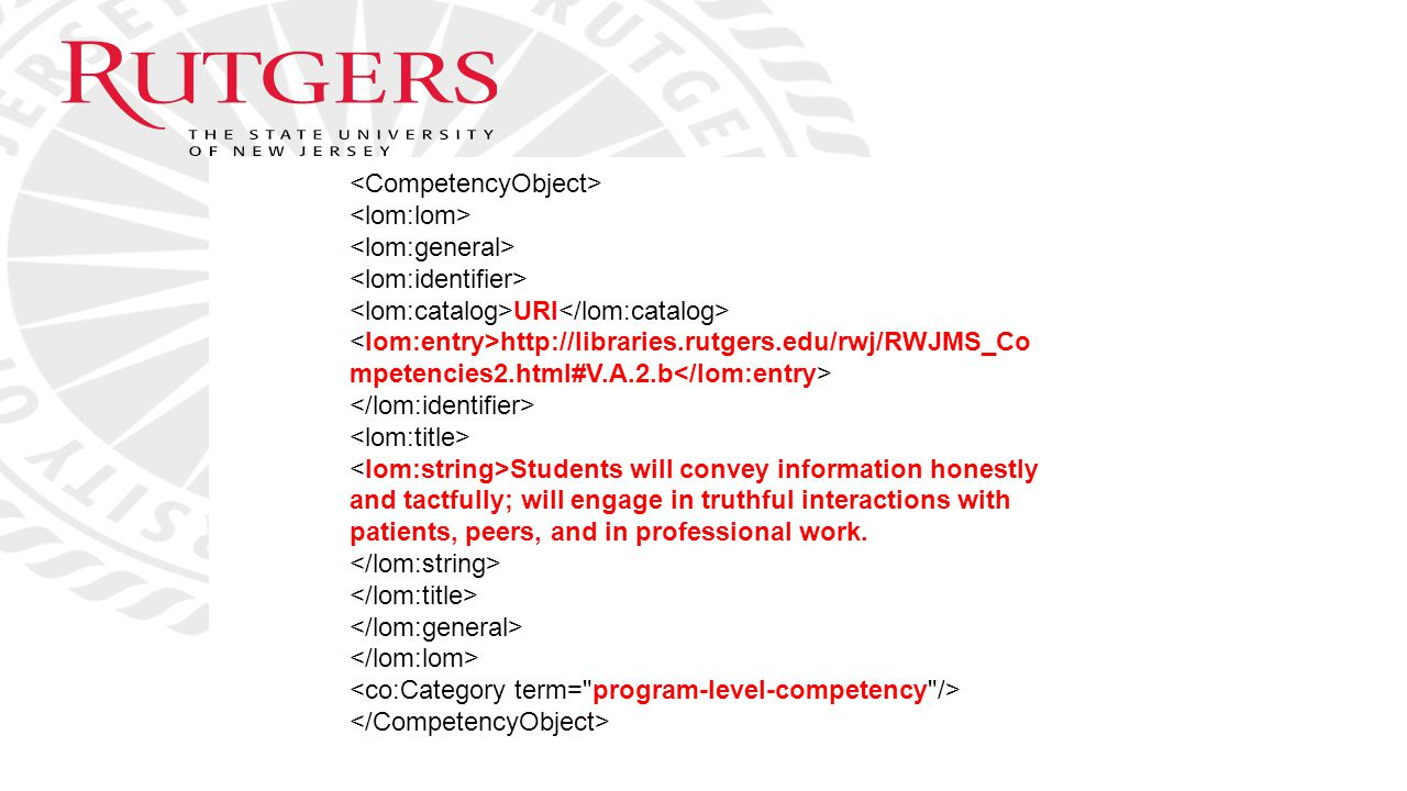 URI http://libraries.rutgers.edu/rwj/RWJMS_Co mpetencies2.html#V.A.2.b Students will convey information honestly and tactfully; will engage in truthfu