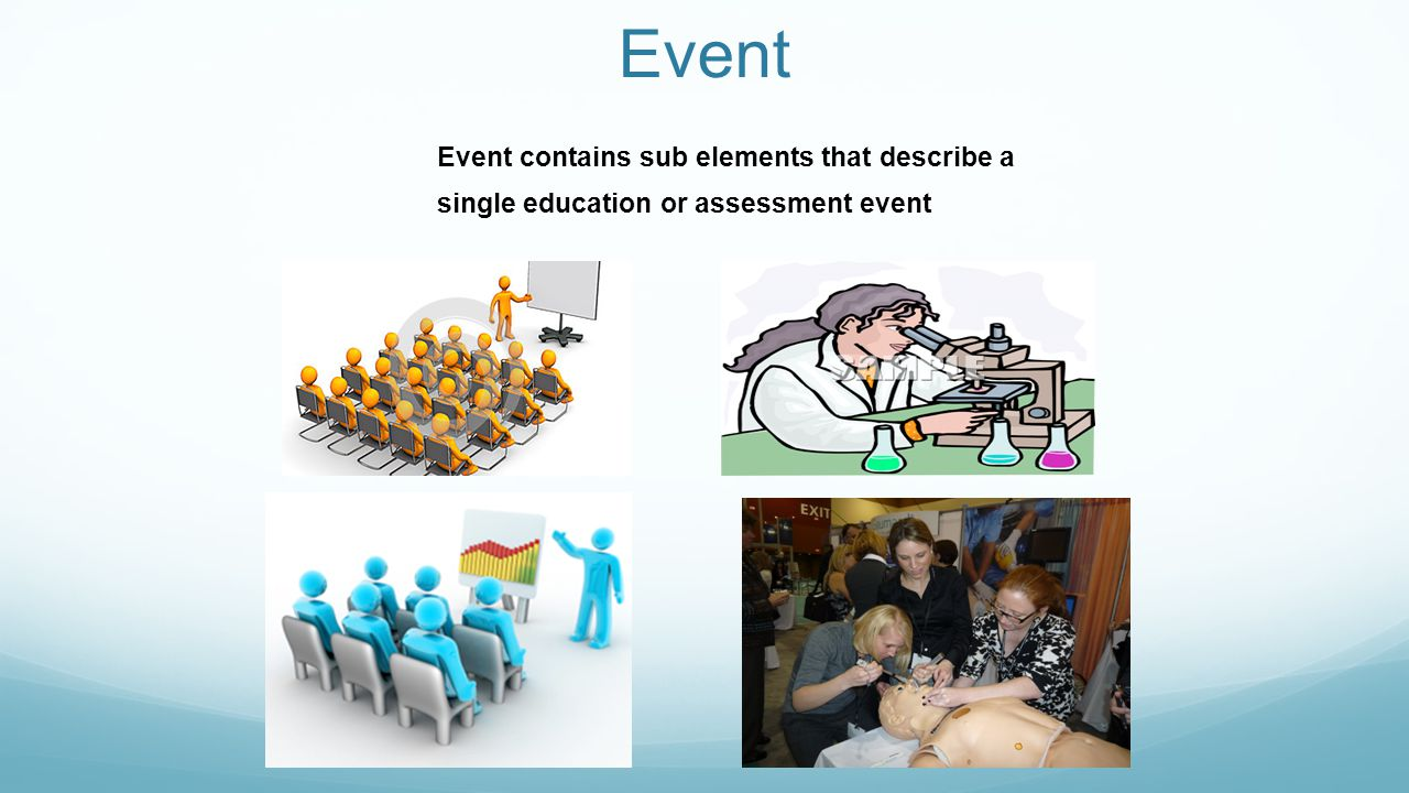 Event Event contains sub elements that describe a single education or assessment event