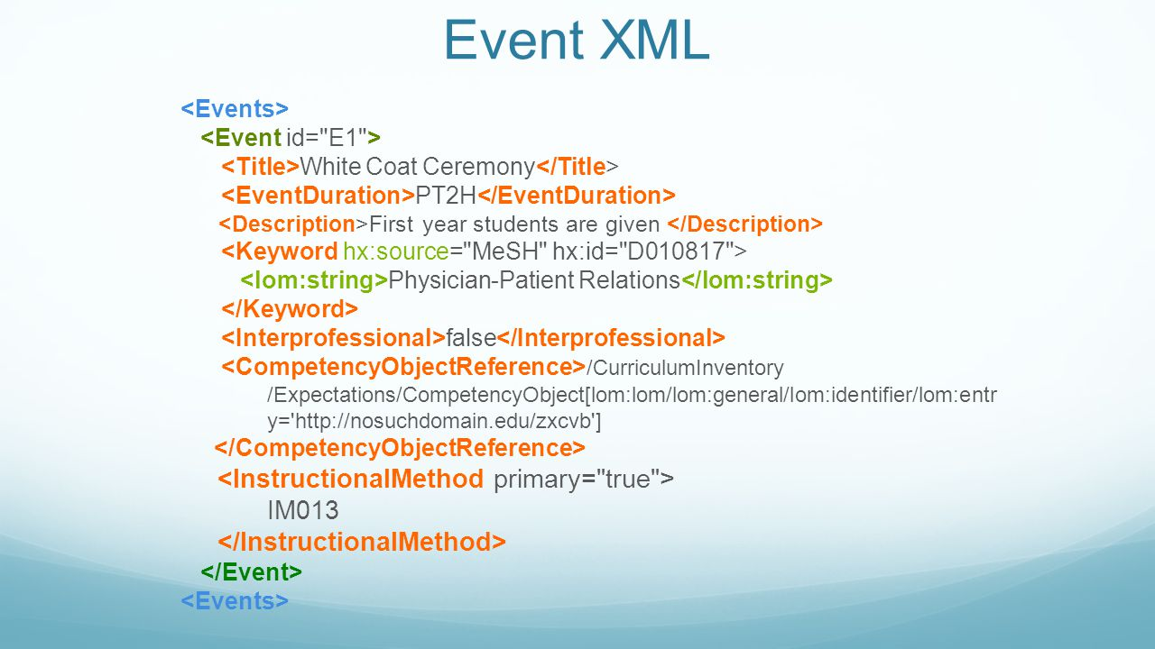 Event XML White Coat Ceremony PT2H First year students are given Physician-Patient Relations false /CurriculumInventory /Expectations/CompetencyObject