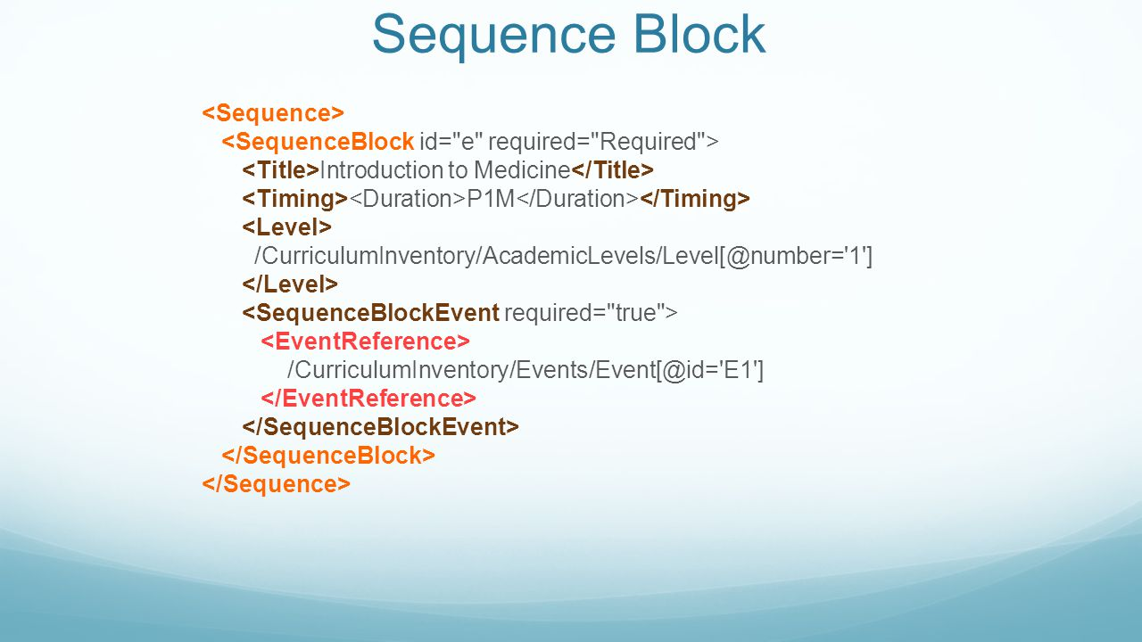 Sequence Block Introduction to Medicine P1M /CurriculumInventory/AcademicLevels/Level[@number='1'] /CurriculumInventory/Events/Event[@id='E1']