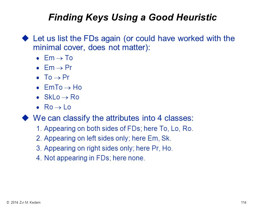 © 2014 Zvi M. Kedem 114 Finding Keys Using a Good Heuristic uLet us list the FDs again (or could have worked with the minimal cover, does not matter):