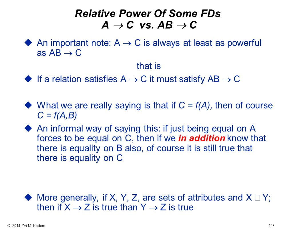 © 2014 Zvi M. Kedem 128 Relative Power Of Some FDs A  C vs.