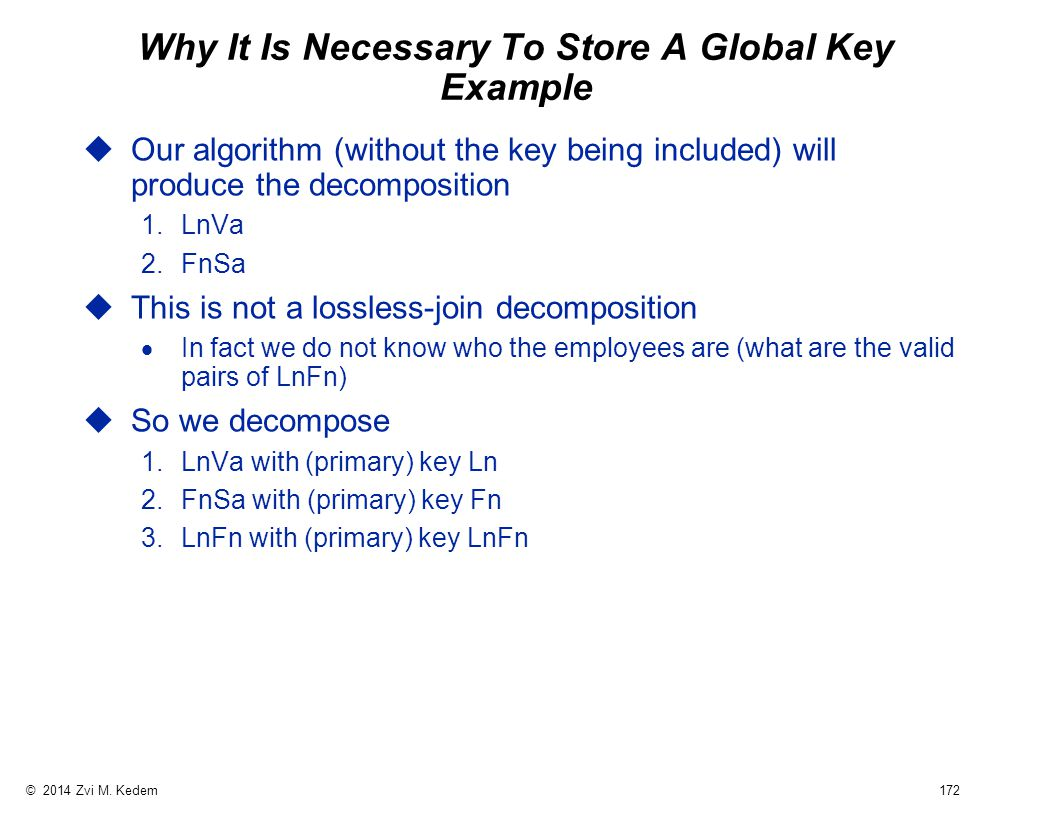 © 2014 Zvi M. Kedem 172 Why It Is Necessary To Store A Global Key Example uOur algorithm (without the key being included) will produce the decompositi