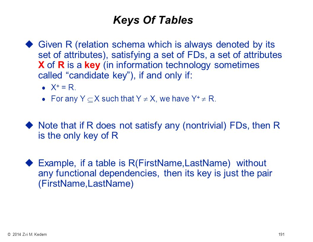 © 2014 Zvi M. Kedem 191 Keys Of Tables uGiven R (relation schema which is always denoted by its set of attributes), satisfying a set of FDs, a set of