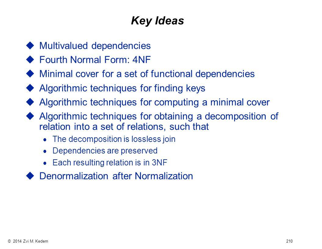 © 2014 Zvi M. Kedem 210 Key Ideas uMultivalued dependencies uFourth Normal Form: 4NF uMinimal cover for a set of functional dependencies uAlgorithmic