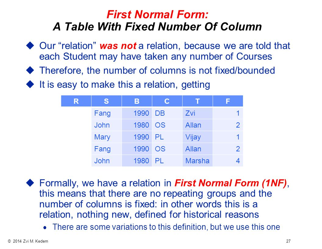 """© 2014 Zvi M. Kedem 27 First Normal Form: A Table With Fixed Number Of Column uOur """"relation"""" was not a relation, because we are told that each Studen"""