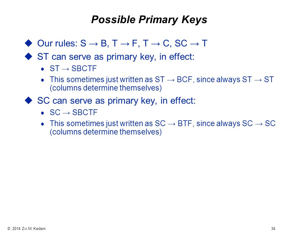 © 2014 Zvi M. Kedem 34 Possible Primary Keys uOur rules: S → B, T → F, T → C, SC → T uST can serve as primary key, in effect:  ST → SBCTF  This some