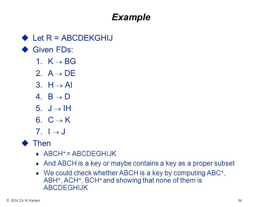 © 2014 Zvi M. Kedem 94 Example uLet R = ABCDEKGHIJ uGiven FDs: 1.K  BG 2.A  DE 3.H  AI 4.B  D 5.J  IH 6.C  K 7.I  J uThen  ABCH + = ABCDEGHIJK