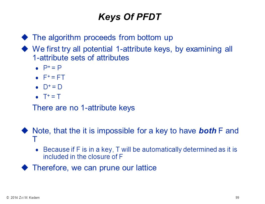 © 2014 Zvi M. Kedem 99 Keys Of PFDT uThe algorithm proceeds from bottom up uWe first try all potential 1-attribute keys, by examining all 1-attribute