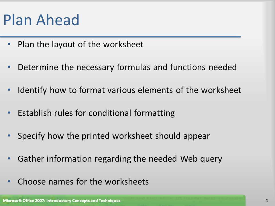 Changing the Worksheet's Margins, Header and Orientation in Page Layout View Click above the worksheet title in cell A1 in the Header area Type Treasurer: Your Name and then press the ENTER key.