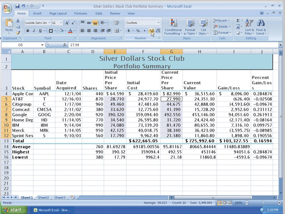 Applying and Accounting Style Format and Comma Style Format Using the Ribbon 45Microsoft Office 2007: Introductory Concepts and Techniques
