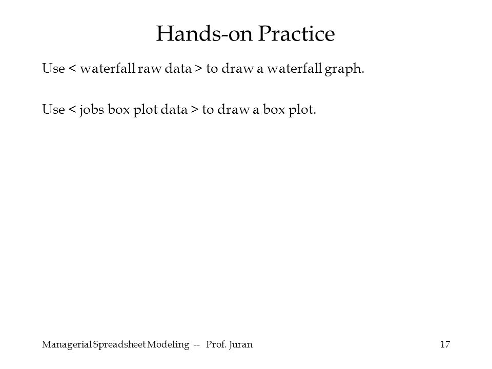Managerial Spreadsheet Modeling -- Prof. Juran17 Use to draw a waterfall graph. Use to draw a box plot. Hands-on Practice