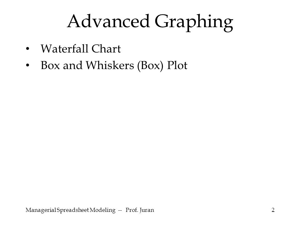 Managerial Spreadsheet Modeling -- Prof. Juran13 Construct 5 new series Box Plot