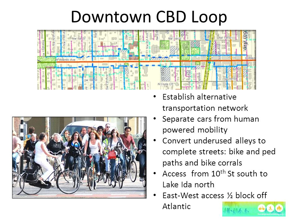 Downtown CBD Loop Establish alternative transportation network Separate cars from human powered mobility Convert underused alleys to complete streets: bike and ped paths and bike corrals Access from 10 th St south to Lake Ida north East-West access ½ block off Atlantic