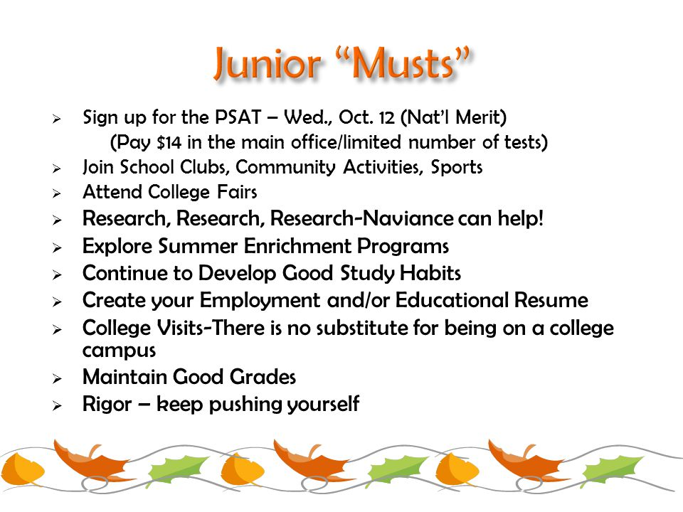  Sign up for the PSAT – Wed., Oct.