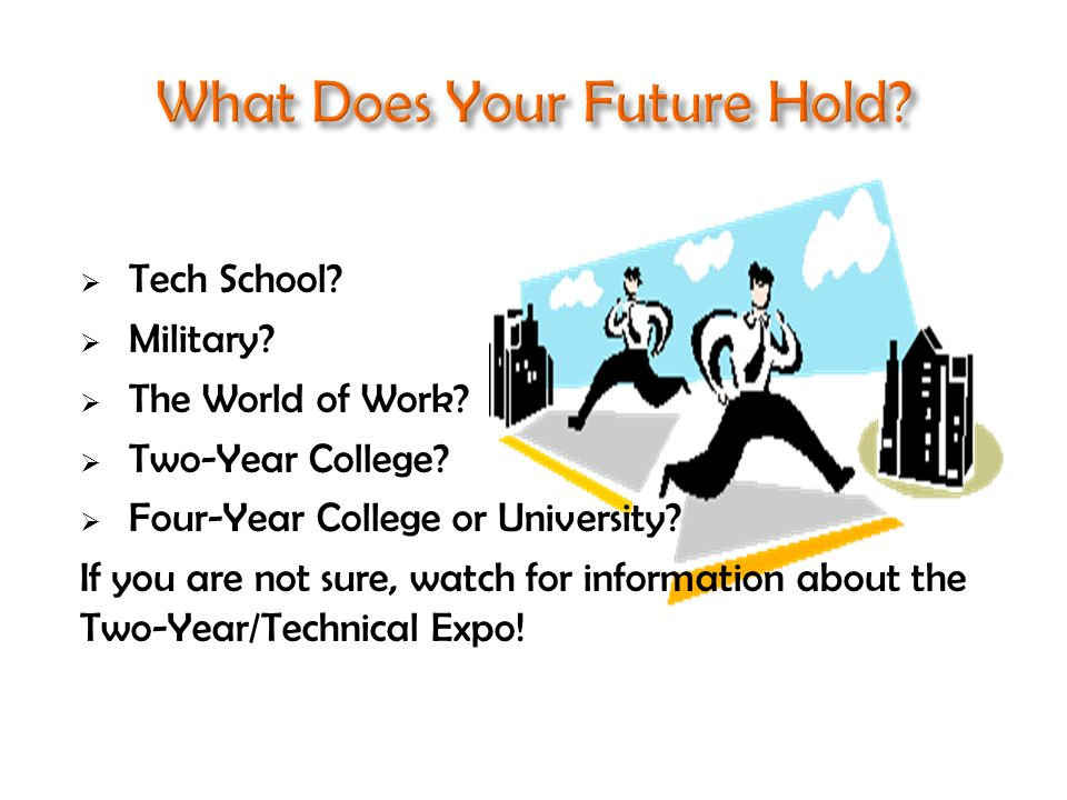  Tech School.  Military.  The World of Work.  Two-Year College.