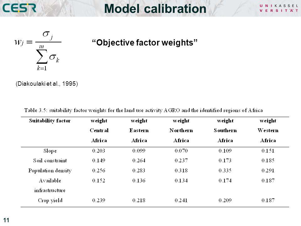 11 Model calibration (Diakoulaki et al., 1995) Objective factor weights