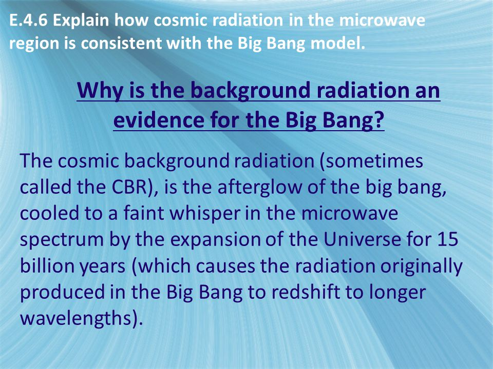 Why is the background radiation an evidence for the Big Bang.