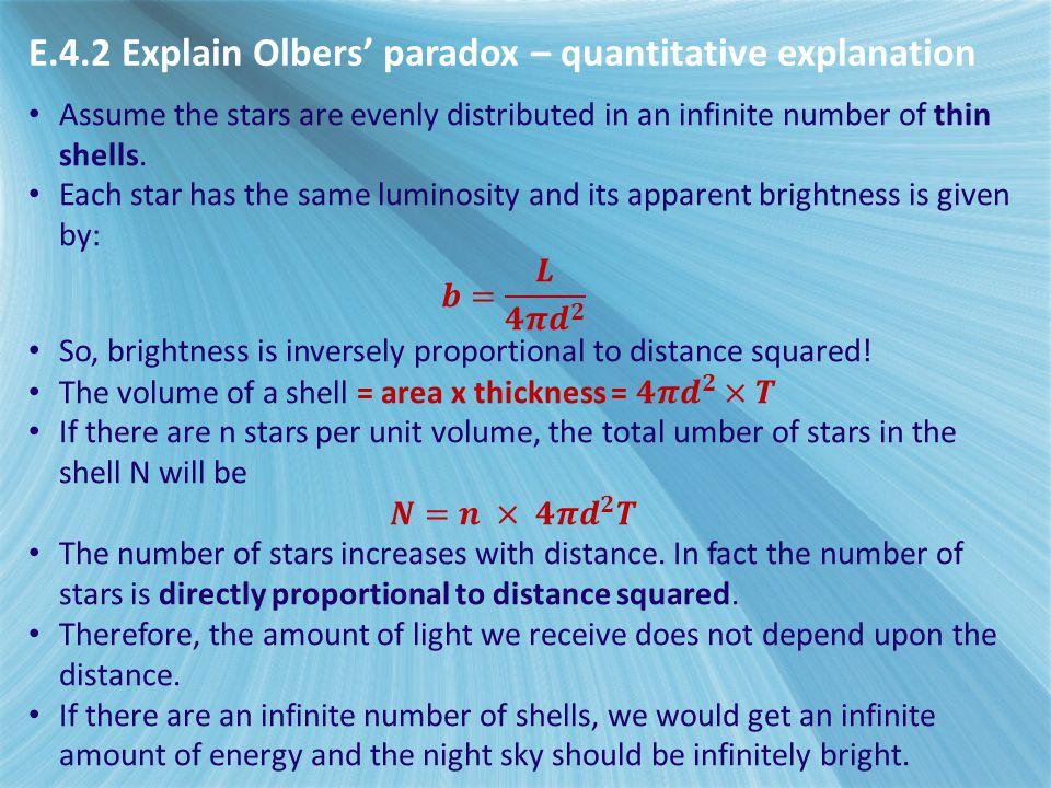E.4.2 Explain Olbers' paradox – quantitative explanation