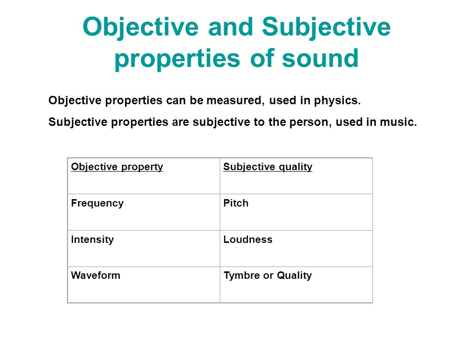 Objective and Subjective properties of sound Objective properties can be measured, used in physics.