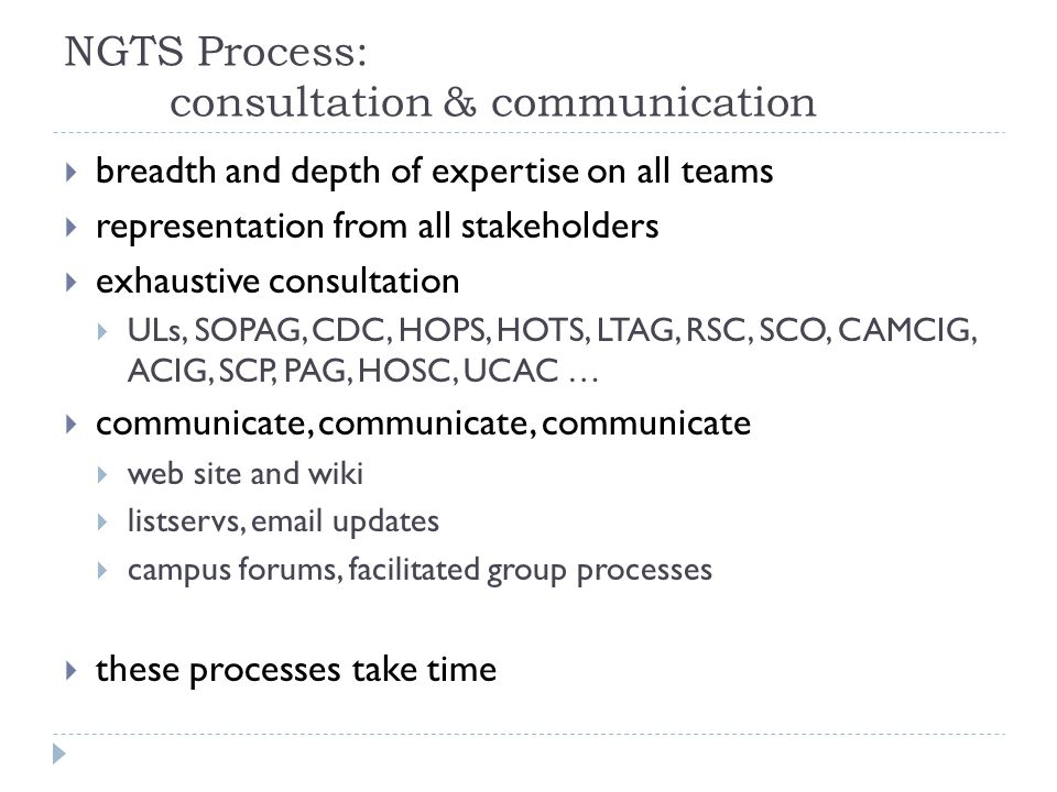 NGTS Process: consultation & communication  breadth and depth of expertise on all teams  representation from all stakeholders  exhaustive consultat
